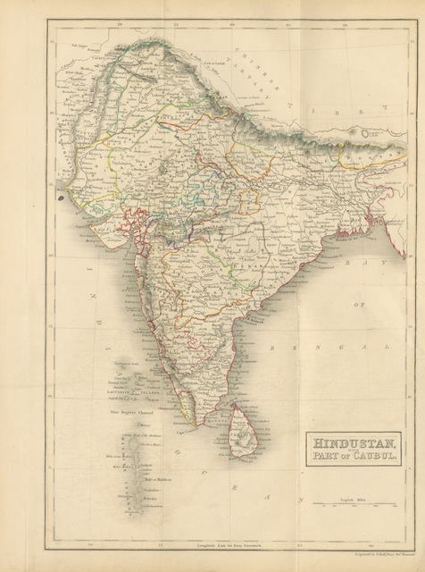 "map from ""Continental India. Travelling sketches and historical recollections, illustrating the antiquity, religion, and manners of the Hindoos, the extent of British Conquests, and the progress of missionary operation"""