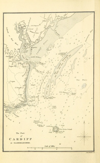 """map from """"Nautical Observations on the Port and maritime vicinity of Cardiff, with occasional strictures on the Ninth Report of the Taff Vale Railway Directors; and some general remarks on the commerce of Glamorganshire"""""""