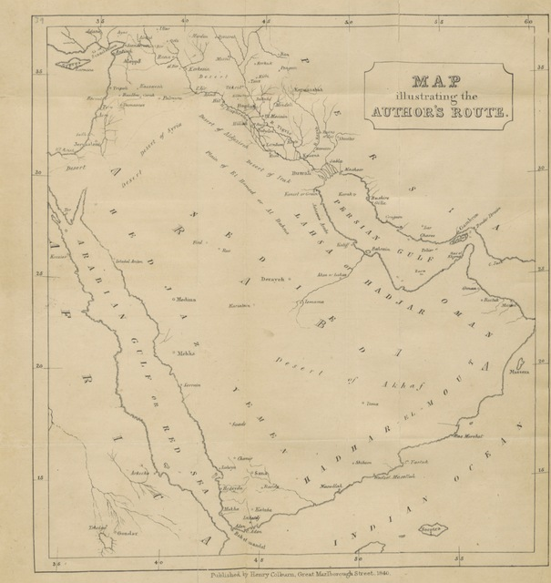 "map from ""Travels to the City of the Caliphs along the shores of the Persian Gulf and the Mediterranean: including a Voyage to the coast of Arabia, and a Tour on the Island of Socotra"""