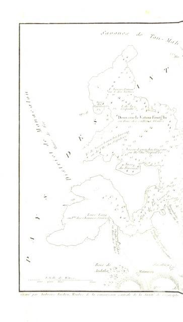 """map from """"Voyage à Madagascar et aux Iles Comores (1823 à 1830), précédé d'une notice historique et géographique sur Madagascar par M. E. de Froberville ... Avec un atlas et huit vues et costumes dessinés par V. Adam et deux cartes géographiques"""""""
