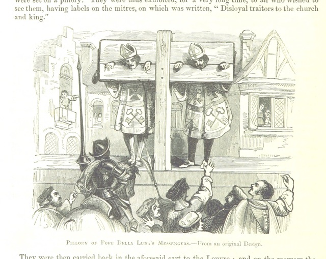 "pillory from ""[The Chronicles of E. de Monstrelet ... Translated by T. Johnes. [With plates.]]"""