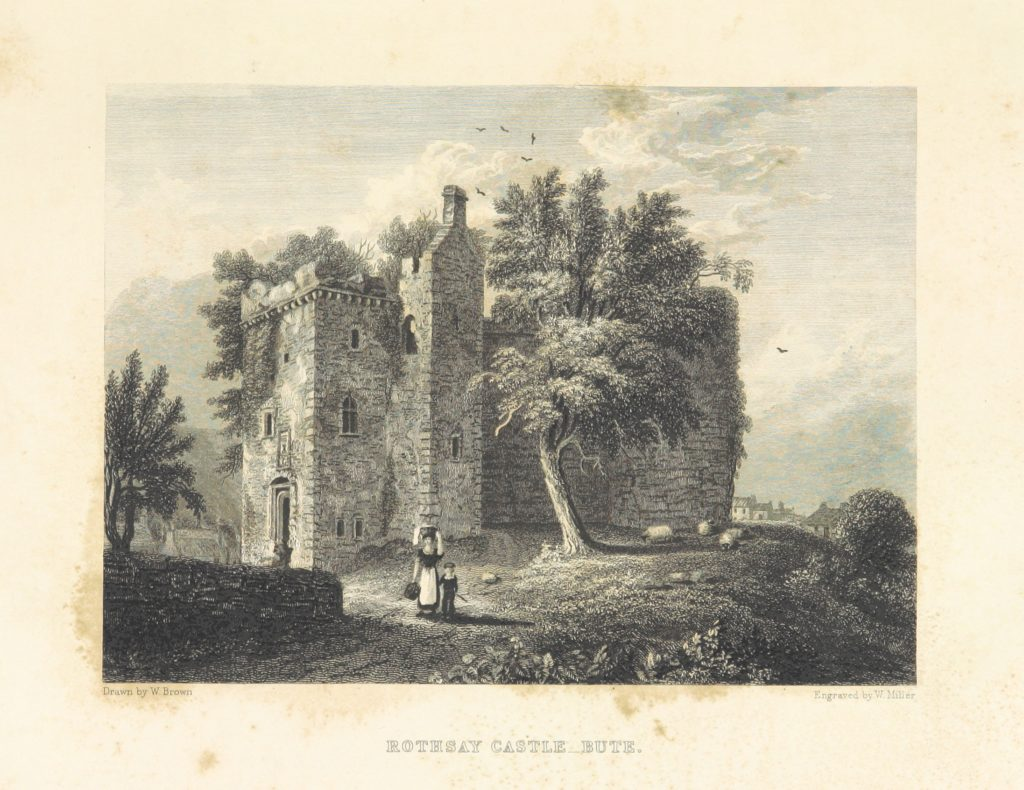 """Rothsay Castle from """"Select Views of the Royal Palaces of Scotland ... With illustrative descriptions ... by the late Rev. John Jamieson ... Second edition"""""""