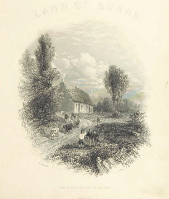"""titlepage from """"The Poems, Letters, and Land of Robert Burns: illustrated by W. H. Bartlett, T. Allom, and other artists. With a new memoir of the poet, and notices, critical and biographical, of his works, by Allan Cunningham"""""""