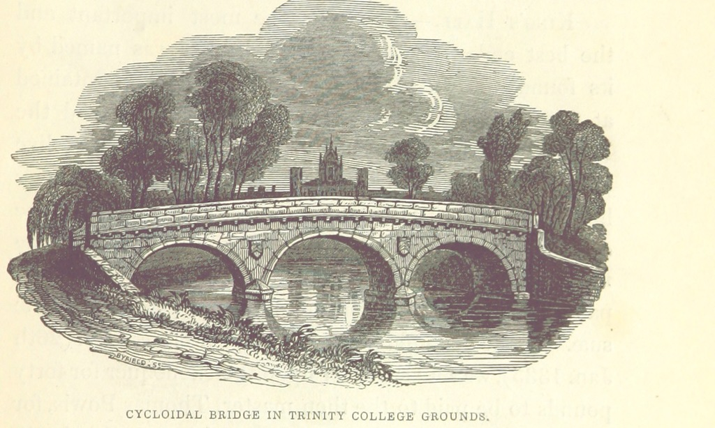 """bridge from """"Le Keux's Memorials of Cambridge: a series of views of the colleges, halls, and public buildings, engraved by J. Le Keux; with historical and descriptive accounts by Thomas Wright ... and the Rev. H. Longueville Jones"""""""