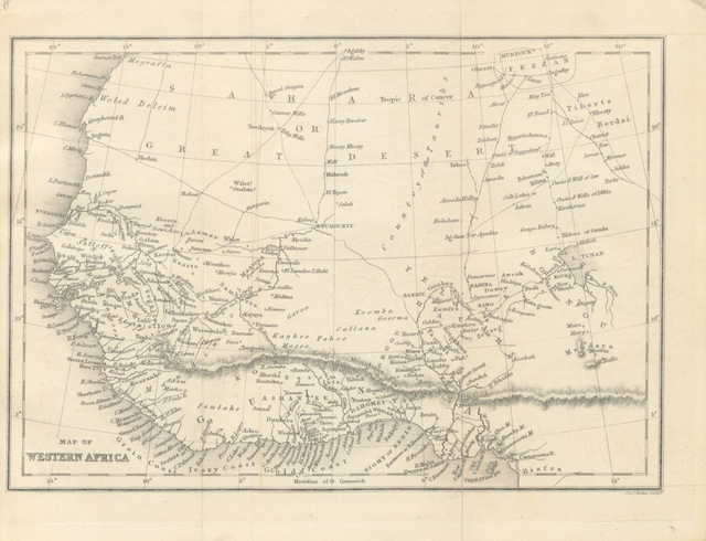 """map from """"Ashantee and the Gold Coast: being a sketch of the history, social state, and superstitions of the inhabitants of those countries: with a notice of the state and prospects of Christianity among them. [With a map.]"""""""