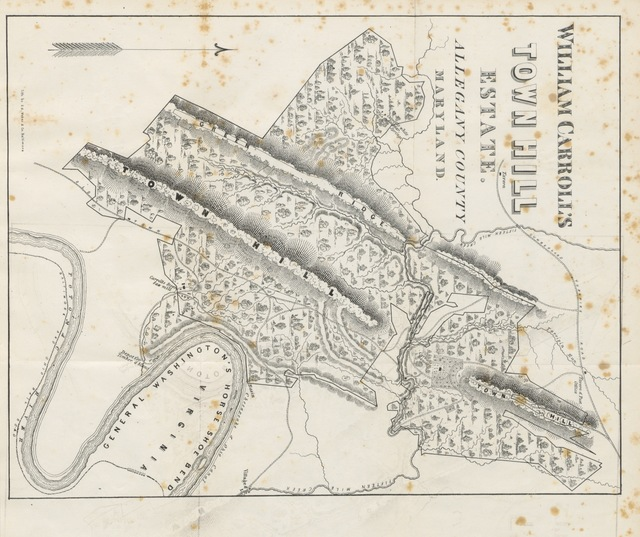 """map from """"Inexhaustible Iron Mines: containing twenty square miles of iron ores, and superb ... timber, with anthracite coal: Report on the freehold estate of W. Carroll, ... Maryland, etc"""""""