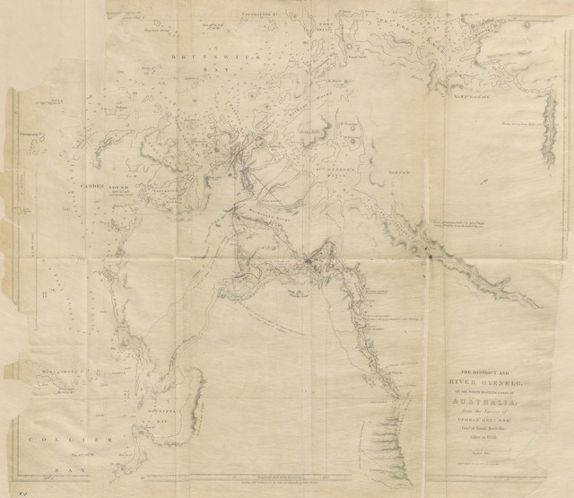 "map from ""Journals of two Expeditions of Discovery in North West and Western Australia, during the years 1837, 38, and 39. With observations on the moral and physical character of the aboriginal inhabitants"""