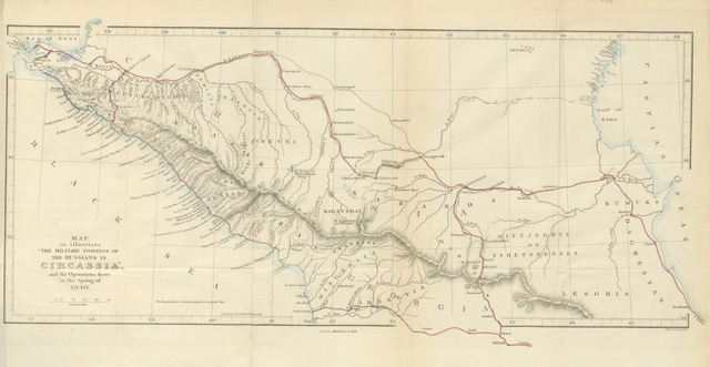 "map from ""Notes of a Half-pay in search of health; or, Russia, Circassia, and the Crimea, in 1839, 40"""