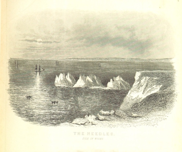 """needles rocks from """"The Isle of Wight; its past and present condition, and future prospects"""""""