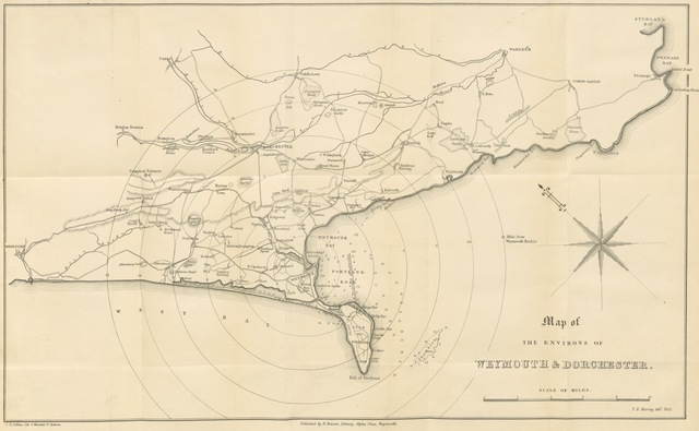 "map from ""A Summer Trip to Weymouth and Dorchester, including an excursion to Portland, and a visit to Maiden Castle, the Amphitheatre, and other places of interest. From the note-book of an old traveller [i.e. J. S. Buckingham]"""