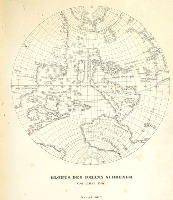 """map from """"Der Erdglobus des Martin Behaim vom Jahre 1492 und der des Johann Schöner vom Jahre 1520. ... Aus dem Jahresberichte der technischen Anstalten in Nürnberg fûr 1842 besonders abgedruckt"""""""
