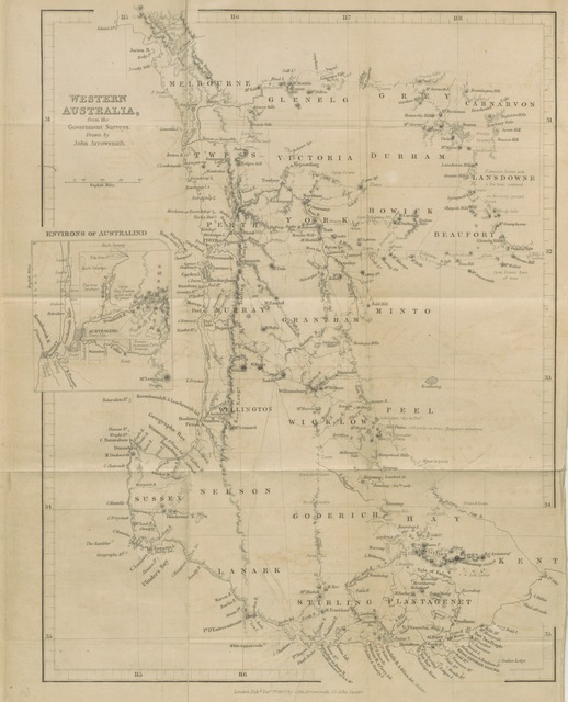 "map from ""Western Australia, containing a statement of the condition and prospects of that colony, and some account of the Western Australian Company's Settlement of Australind. With a map, etc. [By Alfred Gill.]"""