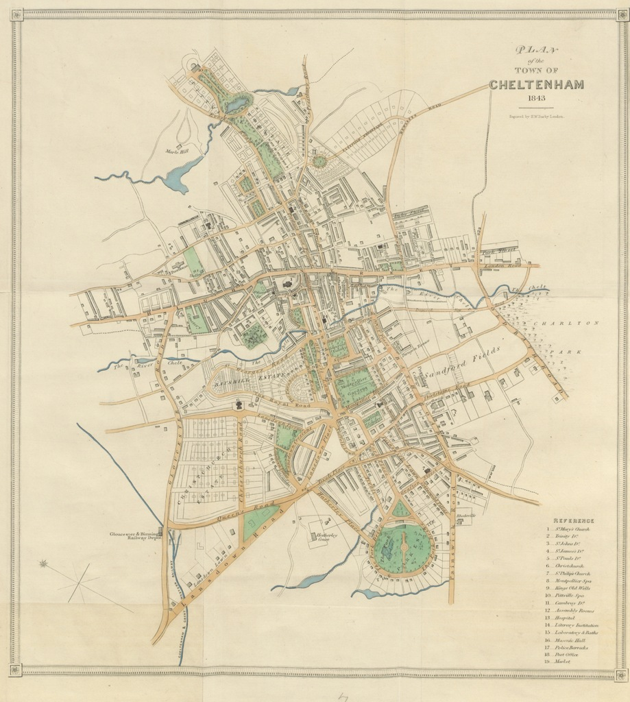 """1843 from """"[The Stranger's Guide through Cheltenham; containing an account of its mineral waters ... Also, notices of the principal objects of curiosity in the surrounding country. [The preface signed: H. D., i.e. H. Davies. With plates and maps.]]"""""""