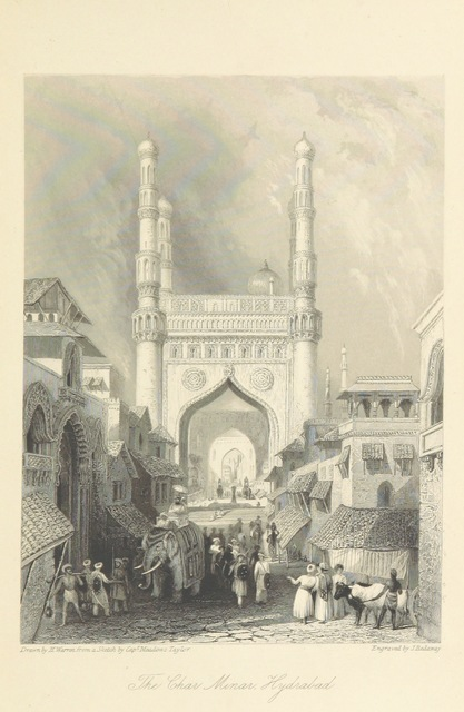 """Charminar from """"The Orientalist; containing a series of tales, legends, and historical romances ... With engravings by W. and E. Finden, from sketches by the author, and Captain Meadows Taylor"""""""