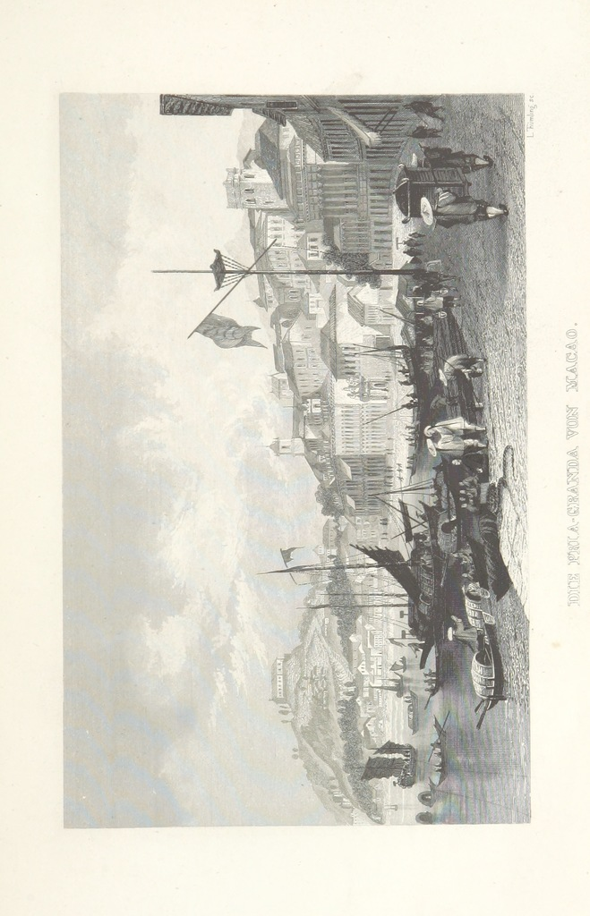 """harbor from """"China, historisch romantisch, malerisch. [A translation of parts of """"China, in a series of views ... By Thomas Allom Esq. with historical and descriptive notes by the Rev. G. N. Wright."""" With a selection from the engravings.]"""""""
