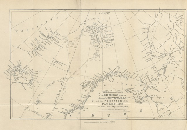"map from ""A Voyage of Discovery towards the North Pole, performed in His Majesty's Ships Dorothea and Trent, under the command of Capt. David Buchan, R.N., 1818; to which is added, a summary of all the early attempts to reach the Pacific by way of the Pole. [With plates.]"""