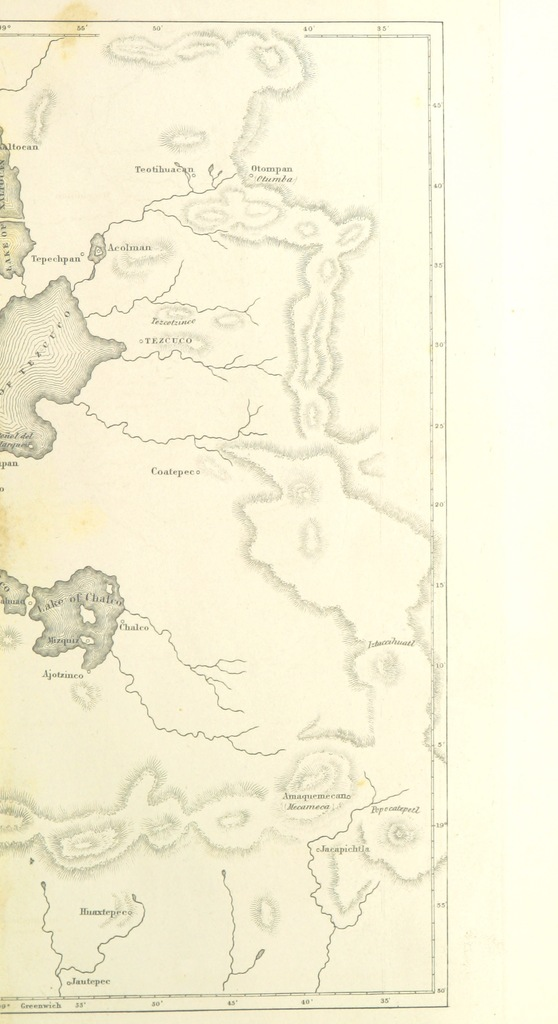 """map from """"History of the Conquest of Mexico, with a preliminary view of the ancient American civilization, and the life of the conqueror, Hernando Cortés"""""""