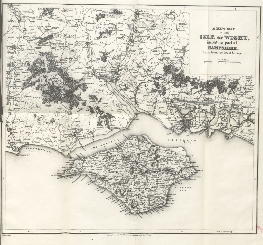 """map from """"Summer Tour to the Isle of Wight; including Portsmouth, Southampton, Winchester, the South Western Railway, &c. [With plates, illustrations, and a map.]"""""""