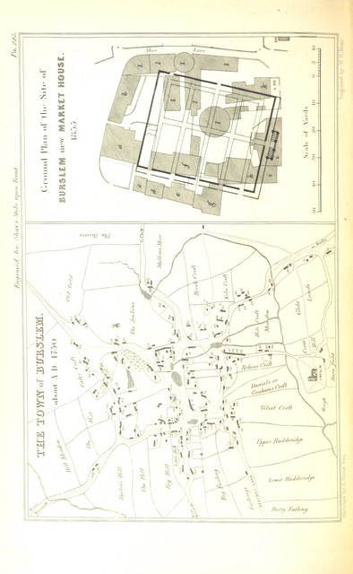 """map from """"The Borough of Stoke-upon-Trent ... comprising its history, statistics, civil polity, and traffic, with biographical and genealogical notices of eminent individuals; ... also, the Manorial History of Newcastle-under-Lyme, and incidental notices of other neighbouring places and objects ... By J. W. [and S. Shaw]"""""""