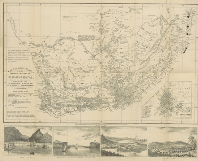 """map from """"The Cape of Good Hope and the Eastern Province of Algoa Bay, &c., &c., with statistics of the Colony ... Edited by Mr. Joseph S. Christophers. [With a map.]"""""""