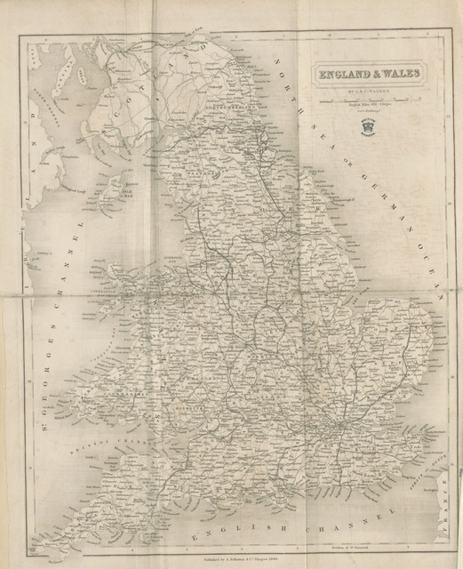 "map from ""The parliamentary gazetteer of England and Wales, adapted to the new Poor-law, franchise, municipal and ecclesiastical arrangements, and compiled with a special reference to the lines of railroad and canal communication, as existing in 1840-43. Illustrated by a series of maps forming a complete county-atlas of England, and by four large maps of Wales. With an appendix containing the results, in detail, of the census of 1841"""