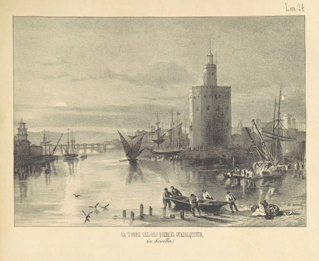 """Torre del Oro from """"España pintoresca, artistica, monumental, literaria y de costumbres"""""""