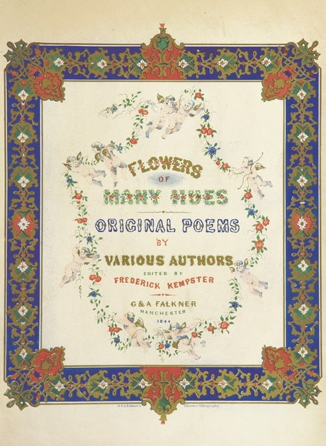 "cover from ""Flowers of many Hues. Original poems by various authors. Edited by F. K"""