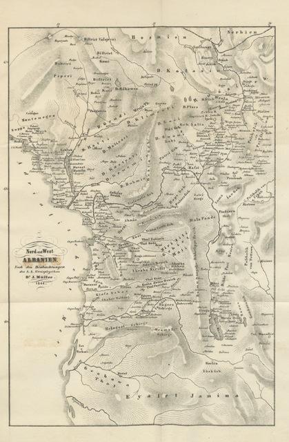 """map from """"Albanien, Rumelien und die österreichisch-montenegrinische Gränze ... mit einer Vorrede von Dr. P. J. Schafarik, etc"""""""
