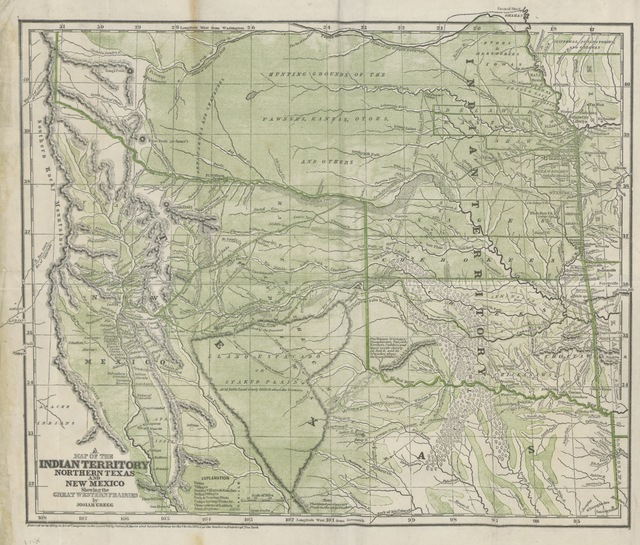 "map from ""Commerce of the Prairies; or, the journal of a Santa Fé Trader, during eight expeditions across the great Western Prairies, and a residence of nearly nine years in Northern Mexico"""