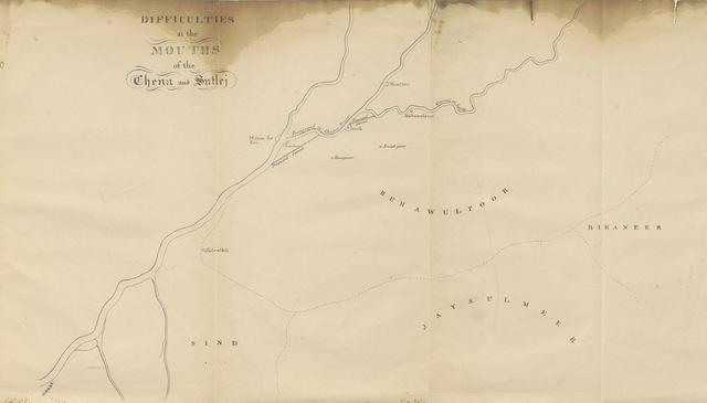 "map from ""Cursory Observations on the Route from the N.W.P. to Upper Scinde, illustrative of the statistics and geological features of the rivers Sutlej, Punjnud or Chena, and Scinde or Indus. [With maps.]"""