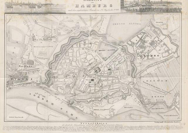 """map from """"Hamburg und seine Umgebungen, im 19teⁿ Jahhrundert ... Text vom Oberauditeur F. G. Buek. (Nach der Natur gezeichnet von Carl Alex. Lill u. A.)"""""""