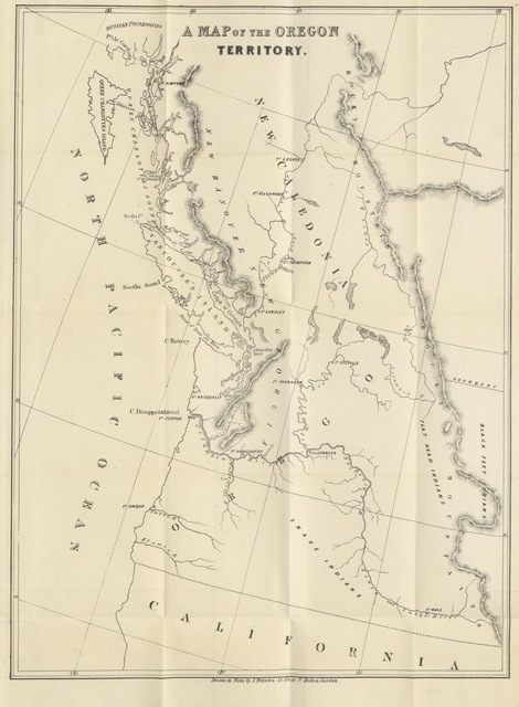 """map from """"History of the Oregon Territory and British North-American Fur Trade; with an account of the habits and customs of the principal native tribes"""""""