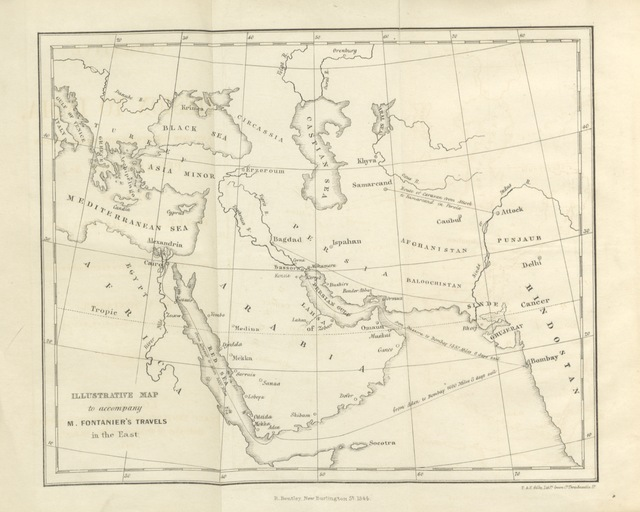 "map from ""Narrative of a Mission to India, and the countries bordering on the Persian Gulf, by way of the Red Sea. [Translated from the French.]"""