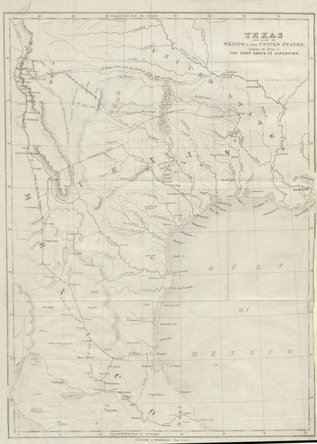 "map from ""Narrative of the Texan Santa Fé expedition. Containing a description of a tour through Texas. With an account of the ... capture of the Texans and their march, as prisoners, to the City of Mexico"""