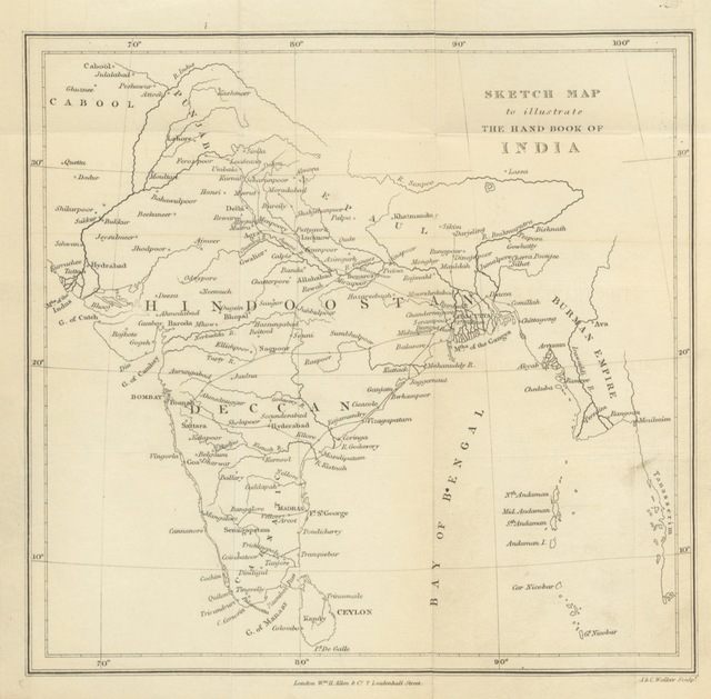 """map from """"The Hand-Book of India, a guide to the stranger and the traveller and a companion to the resident"""""""