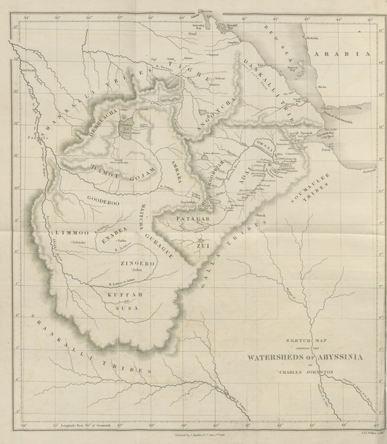 "map from ""Travels in Southern Abyssinia, through the country of Adal to the kingdom of Shoa"""