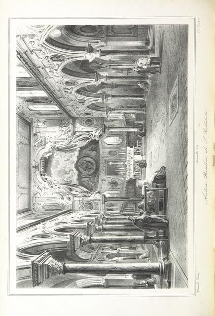 """Basilica of Santa Restituta from """"Napoli e i luoghi celebri delle sue vicinanze. ([Compiled by order of the Neapolitan ministry of home affairs by] G. B. Ajello, S. Aloe, R. d'Ambra, M. d'Ayala, C. Bonucci, C. Dalbono, F. Puoti, B. Quarunta.)"""""""