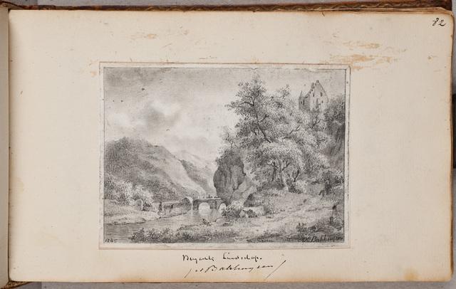"""""""Bergachtig landschap"""" / door A[lexander] H[ieronymus] Bakhuijzen (1826-1878)"""