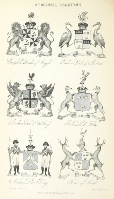 """coat of arms from """"[A History of the Highlands and of the Highland Clans ... Illustrated by a series of portraits and other engravings. [With a map.]]"""""""