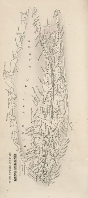 "map from ""A History of Long Island, from its first settlement by Europeans, to the year 1845, with special reference to its ecclesiastical concerns. In two parts, etc"""