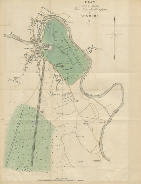 "map from ""A Letter to the ... Earl of Lincoln ... on the present state and direction of the roads intersecting the Parks and Grounds of Windsor Castle, and on the thoroughfares of the town of Windsor; with suggestions for their improvements"""