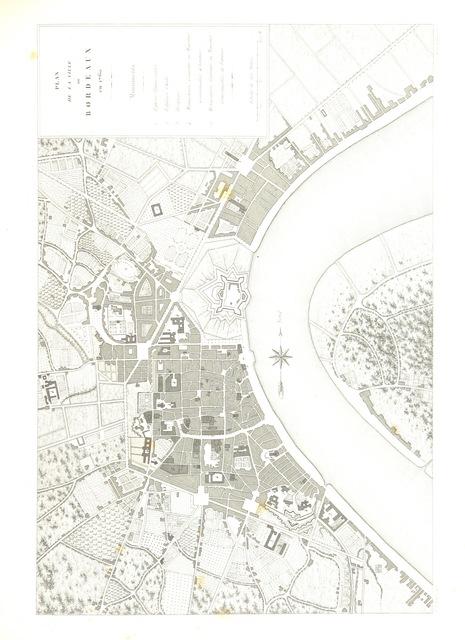 """map from """"Histoire des monuments anciens et modernes de la ville de Bordeaux ... Ornée de ... planches gravées sur acier par Rouargue ainé, de vignettes dessinées par Rouargue jeune, etc"""""""
