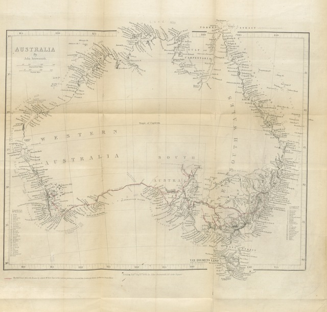 "map from ""Journals of Expeditions of discovery into Central Australia, and overland from Adelaide to King George's Sound, in 1840-1, including an account of the manners and customs of the Aborigines, and the state of their relations with Europeans"""