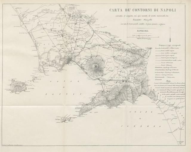 """map from """"Napoli e i luoghi celebri delle sue vicinanze. ([Compiled by order of the Neapolitan ministry of home affairs by] G. B. Ajello, S. Aloe, R. d'Ambra, M. d'Ayala, C. Bonucci, C. Dalbono, F. Puoti, B. Quarunta.)"""""""