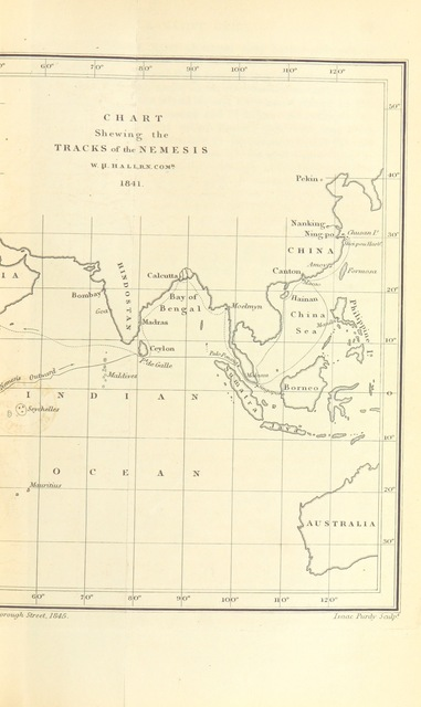 """map from """"[Narrative of the Voyages and Services of the Nemesis, from 1840 to 1843; and of the combined naval and military operations in China; comprising a complete account of the colony of Hong Kong, and remarks on the character and habits of the Chinese, from notes of Commander W. H. Hall, R.N., with personal observations, by W. D. Bernard. [With plates and maps.]]"""""""
