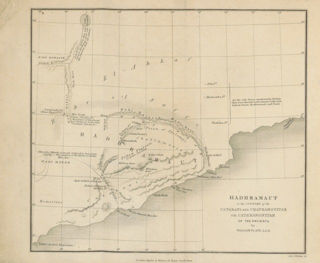 """map from """"Ptolemy's knowledge of Arabia, especially of Hadhramaut and the wilderness El-Ahkaf. [Reprinted from the """"Classical Museum,"""" no. VII.]"""""""