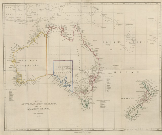 "map from ""Sydney and Melbourne; with remarks on the present state and future prospects of New South Wales, and practical advice to emigrants of various classes, etc. [With a map.]"""