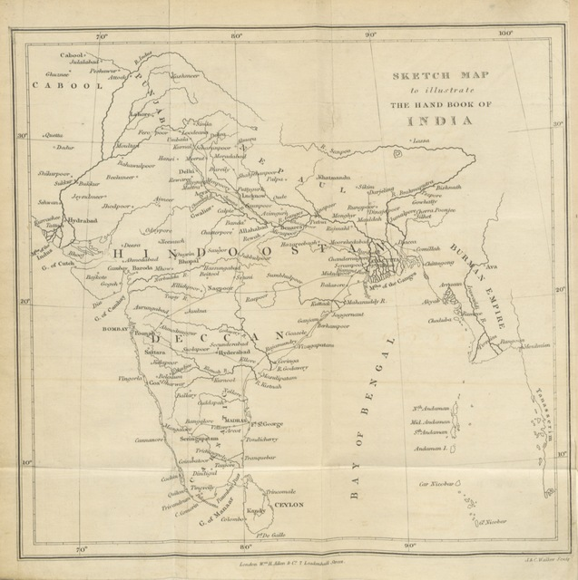"""map from """"[The Hand-Book of India, a guide to the stranger and the traveller and a companion to the resident.]"""""""
