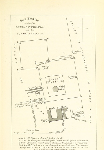 """map from """"The Holy City: or, historical and topographical notices of Jerusalem; with some account of its antiquities and of its present condition"""""""