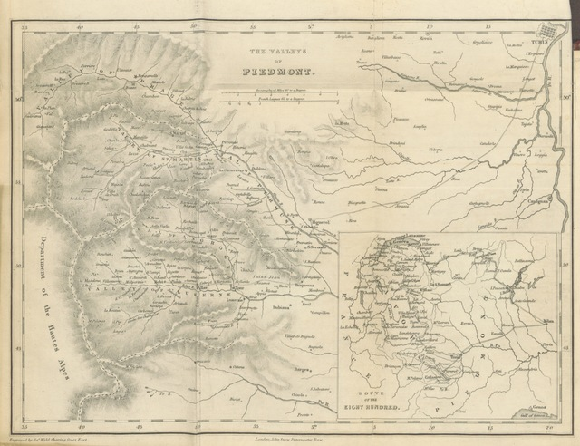 """map from """"The Vaudois; comprising observations made during a tour to the Valleys of Piedmont, in the summer of 1814: together with remarks, introductory and interspersed, respecting the origin, history and present condition of that people"""""""